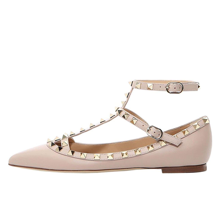 Lutalica Mode Féminine Bout Pointu Rivets Ballerines Confort Décontracté Strappy Ballerines Rivets Chaussures 46 EU|Mat Nu 33098b