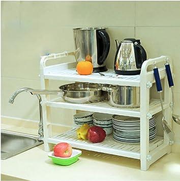 Muebles de cocina Estanterías de microondas Suministros de cocina Estantes  de espátula de bote Estantes multiusos de cocina de arroz Electrodomésticos  de ... 8d0b57060665
