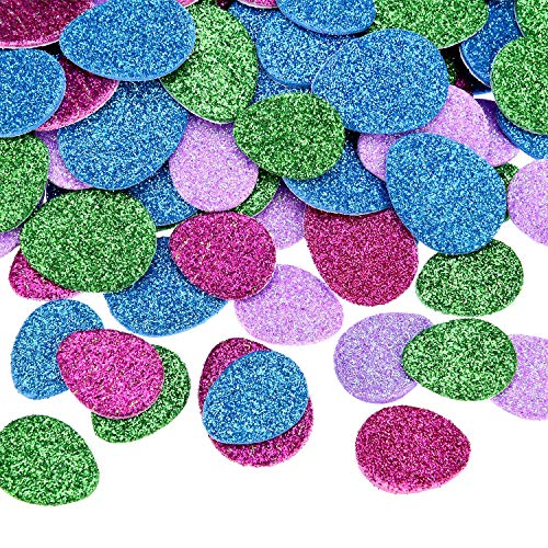 Boao 240 Pieces Easter Egg Stickers Glitter Foam Sticker Self-Adhesive Sticker Crafts for DIY Easter, 4 Colors, 2 Sizes