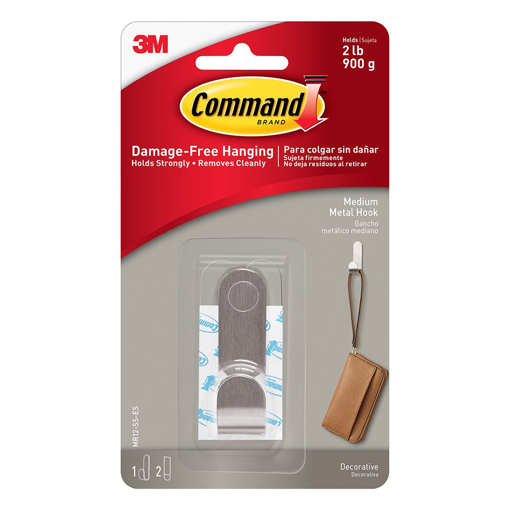 Command MR12-SS-ES Modern Metal Medium, 1 Hook, 2 Strips, Black, 16 Piece