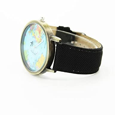 Amazon.com: Women Men Denim Fabric World Map Watches Quartz Relojes Mujer Relogio Feminino Gift Black: Watches