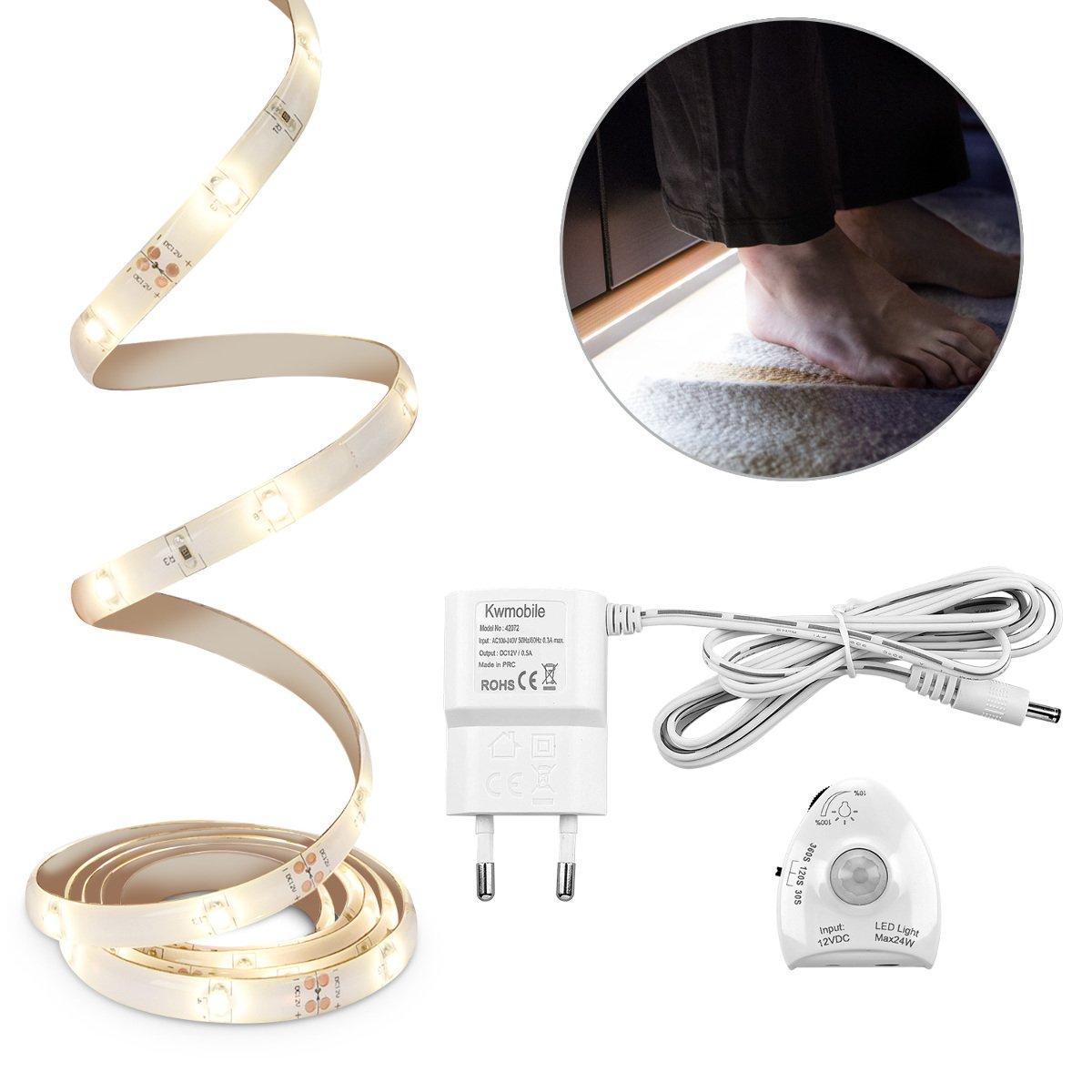 kwmobile luz LED de cama con sensor tira de luz regulable cinta