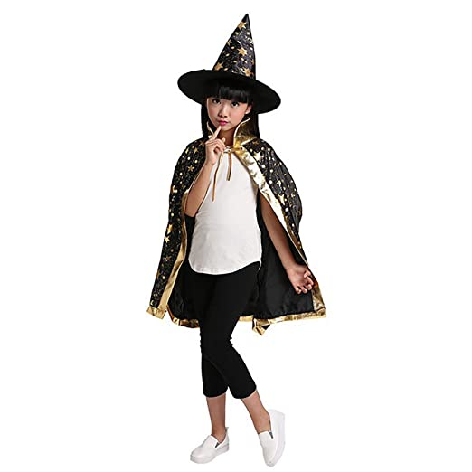 kids girls boys stars halloween costumes witch wizard cloak hat cape robe party props set children
