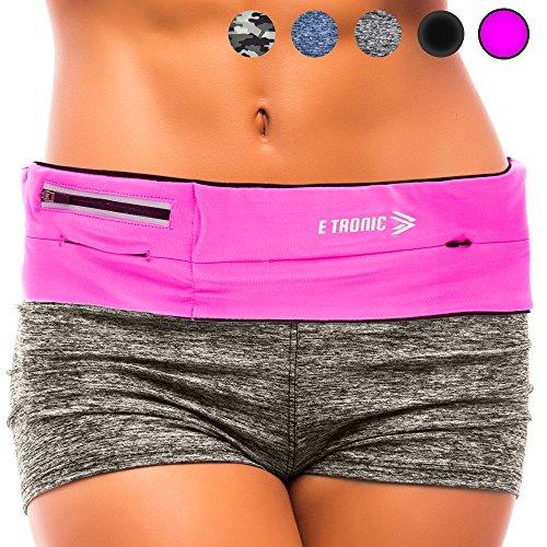 (Running Belt Best Waist Pack: Fanny Pouch Waistband Case (Pink Sport Fit) Holds All Cell Phones Sports Fitness Holder Bag fits Women Men Jog Runners With Water Resistant Zipper Pocket All Waist Sizes)