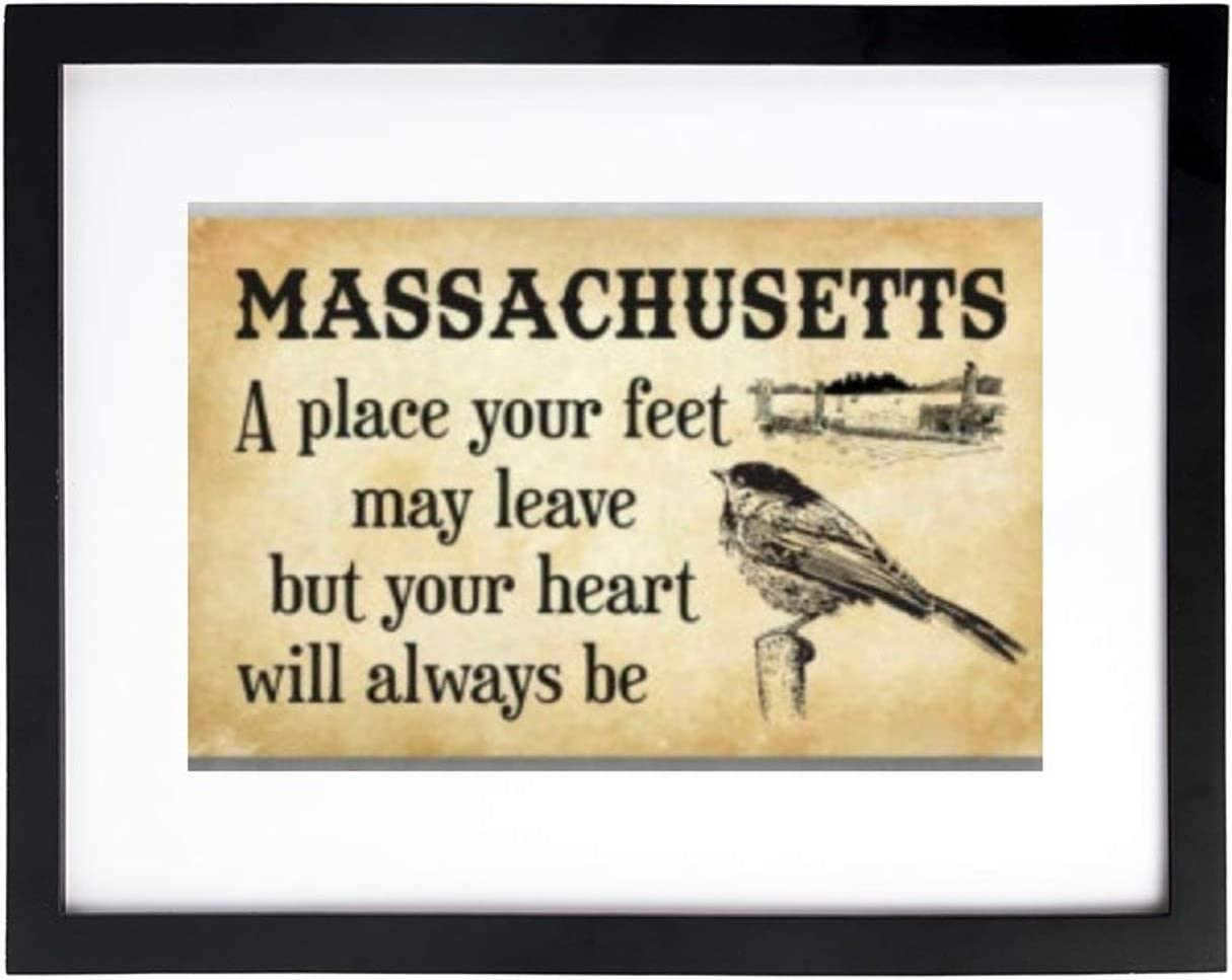 VinMea Art Print Wall Art,Massachusetts A Place Your Feet May Leave Frames with High Definition Glass,Home/Office Wall Art Decor Wooden Frames 8X12 Inches