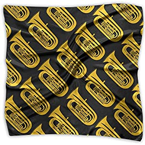Women Vintage Tuba Isolated Yellow Print Square Handkerchiefs Bandanas Head & Neck Tie Scarf