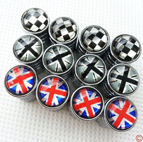 Mini Home Covers - Zorratin Chrome Rim Wheel Valve Stem Cap Cover Screw with Union Jack Button for Mini Cooper r50 r53 r56 r56n f55 f56 r55 r52 r57 r58 r59 r60 r61 jcw