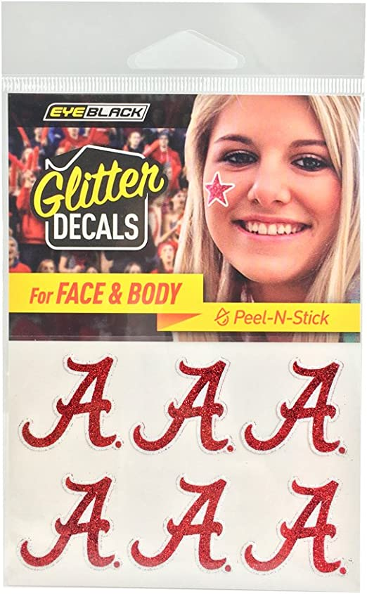Perfect for Game Day and Tailgate EyeBlack Alabama Crimson Tide NCAA Glitter Decals 6 Decals