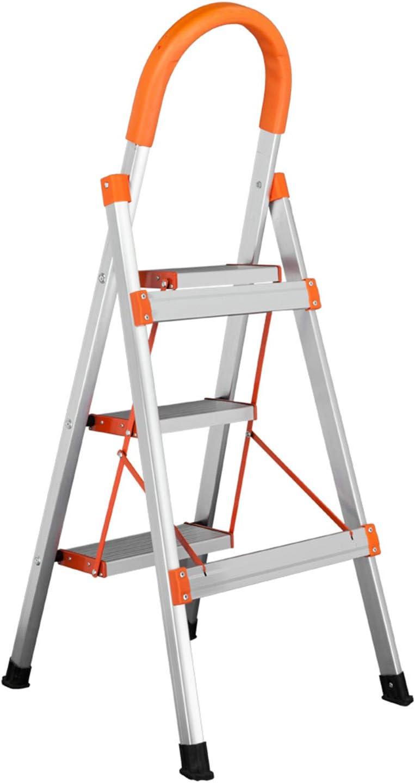 SHUTAO Taburete de Plataforma Plegable de Aluminio de 3 escalones, Antideslizante, 330 Libras, Capacidad de Carga, Color Naranja: Amazon.es: Hogar