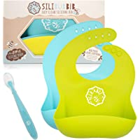 Peekabee Silicone Bibs Set (2pk) with Baby Spoon - Waterproof Bib, Wide Pocket Catches Everything, Wipes Clean - Baby…