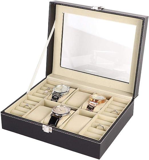 yuyte 6 + 4 Ranuras Caja de Exhibición de Relojes Joyeria, Estuche de Almacenamiento para Relojes Anillo Pendientes Organizadora y Exhibición: Amazon.es: Hogar