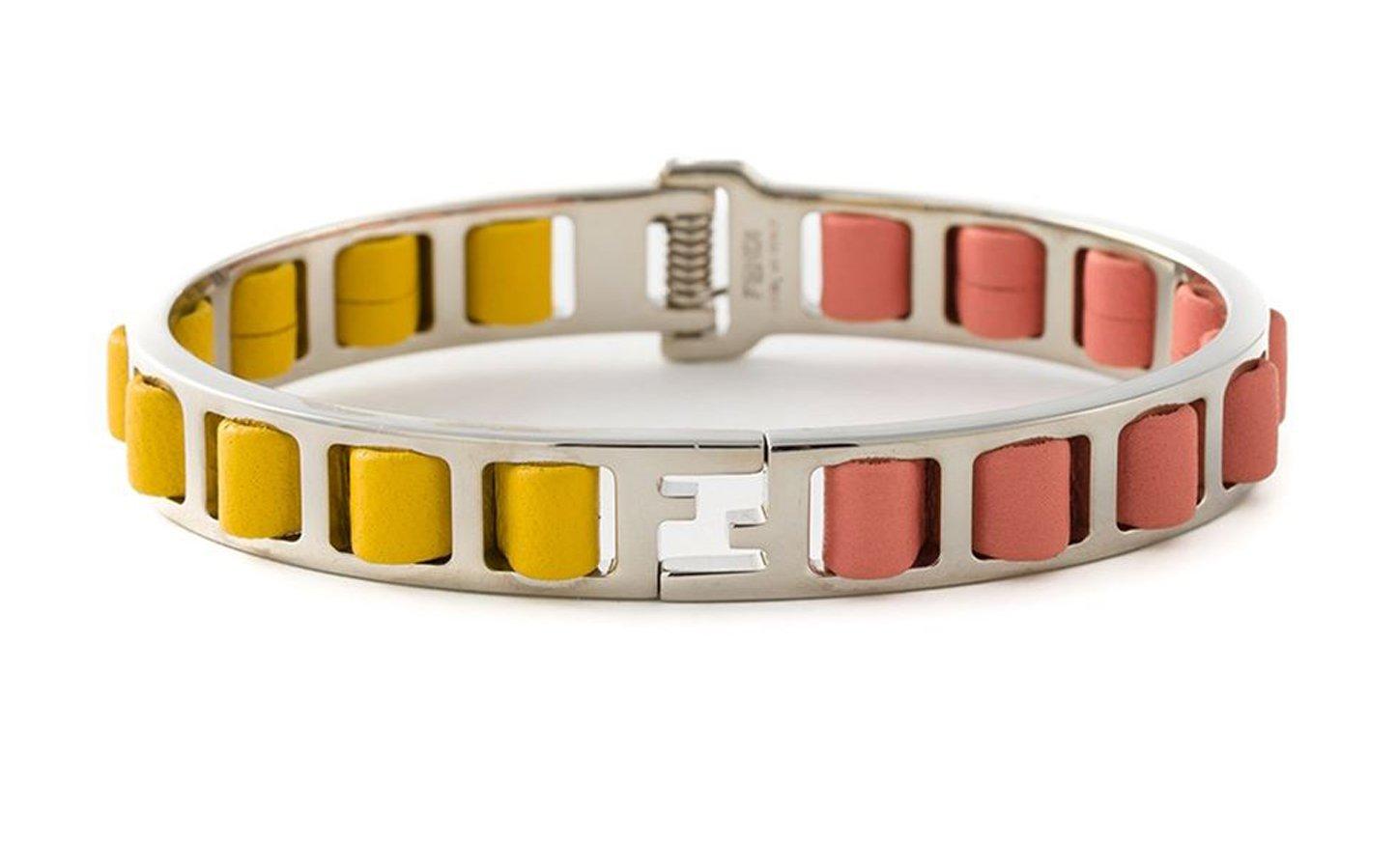 Fendi 'The Fendista' bangle Pink and Yellow Calfskin Leather Metal Bangle Bracelet