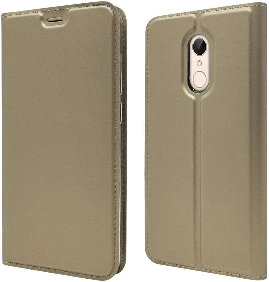 Sangrl Funda para Xiaomi Redmi 5 Plus, Libro Cuero de la PU Leather Case Soporte Plegable Premium Flip Case para Xiaomi Redmi 5 Plus - Gold