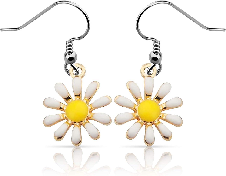 Hypoallergenic Cute Daisy Stud Earrings Yellow Daisy Earrings Dangle Flower Earrings(daisy ER)