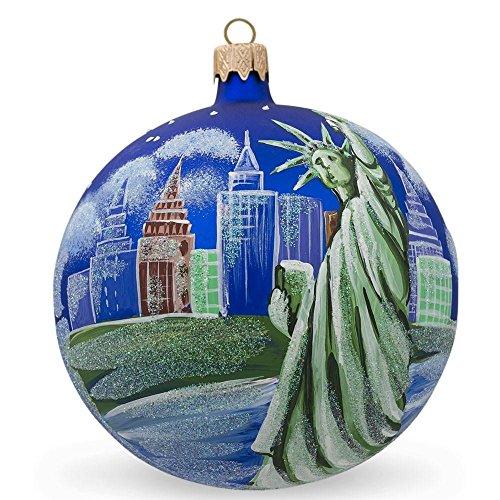 BestPysanky Statue of Liberty Skyline, New York Glass Ball Christmas Ornament 4 Inches ()