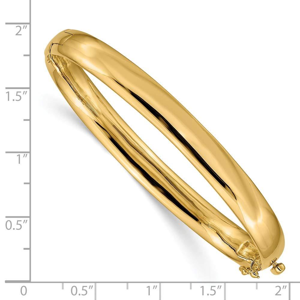 Mia Diamonds 14k Yellow Gold 7.7mm Polished Solid Hinged Bangle Bracelet Bracelet