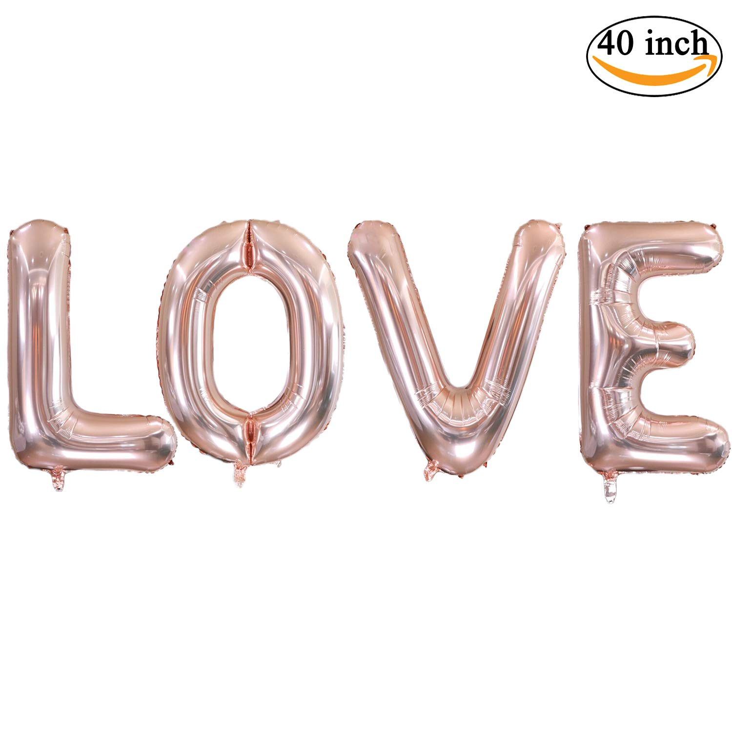 Ruimeier Rose Gold Love (40 inch) Large Balloons, Bridal Shower Wedding Engagement Anniversary Vow Renewal Bachelorette Party Decorations H007RG by Ruimeier