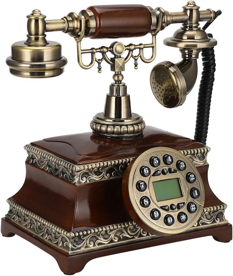 Old Fashion Telephone for Landline, Antique Phone Old Telephone Vintage Phones with Backlight, Vintage EU Style Wired FSK/DTMF Desktop Landline Telephone for Home, Decor, Living Room, Bedroom, Office