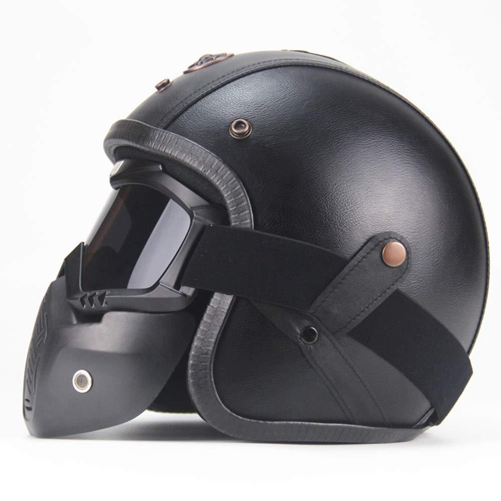 SX Moto Cascos Retro Hechos A Mano Personalidad Retro Harley Casco Moto Coche 3/4 Cuero Casco Medio Casco Hombres Y Mujeres Temporadas (Negro): Amazon.es: ...
