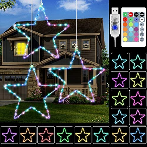 KNONEW Window Lights 3 Pack, 16 Colors Changing Christmas LED Star Lights, USB Powered Christmas Decorations with 3 Remote Controls for Outdoor Indoor Porch Holiday Party