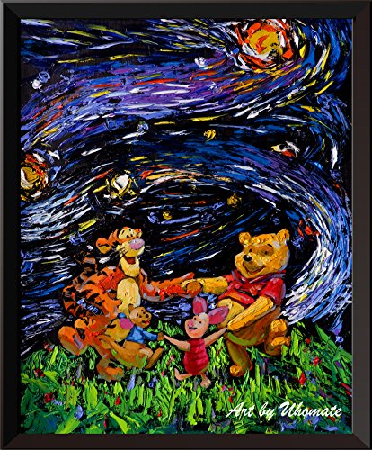 (Uhomate Vincent Van Gogh Starry Night Posters Winnie The Pooh Winnie Pooh Inspired Home Canvas Wall Art Anniversary Gifts Baby Gift Nursery Decor Living Room Wall Decor A012 (13X19))