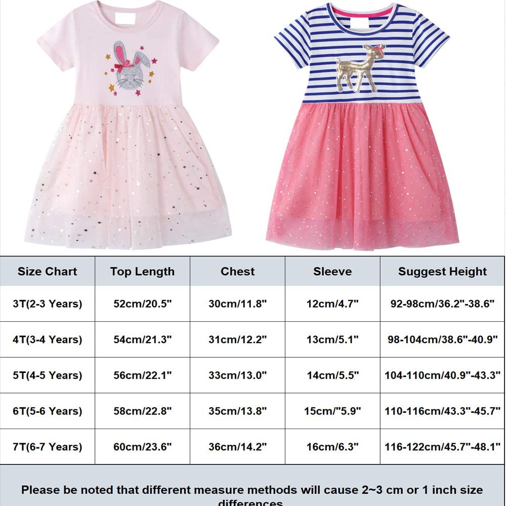 JinBei Kids Grils Dress Summer Short Sleeve Cotton Casual Tulle Dresses Toddler Girls T-Shirt Dress Tops Clothes Animal Print Age 2-7 Years