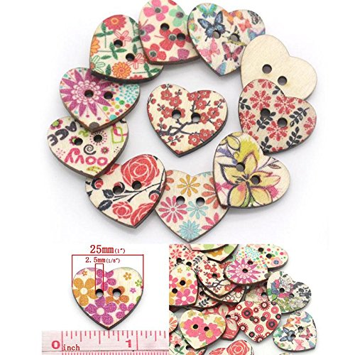 Sewing Buttons Love Heart Shaped Scrapbooking Mixed ()