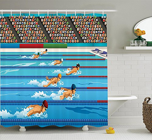 Olympics Decorations Shower Curtain Set Illustration of Swimmers During Swimming Competition Sports Theme Cartoon Art Bathroom Accessories Blue Beige ()
