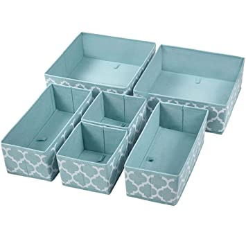 Homyfort Set Of 6 Foldable Dresser Drawer Dividers Cloth Storage Boxes Closet Organizers For Underwear Bras Socks Ties Scarves Blue Lantern