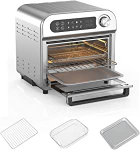Air Fryer Toaster Oven Combo 8-in-1 Countertop Rotisserie & Dehydrator, Convection Oven for Chicken, Pizza, Cookies, Bake, Broiler, Roaster, Toast, Oil-Less Oven, Stainless Steel Body, Accessories Included, LED Display & Control Dial, Silver, 1500W, UL Listed