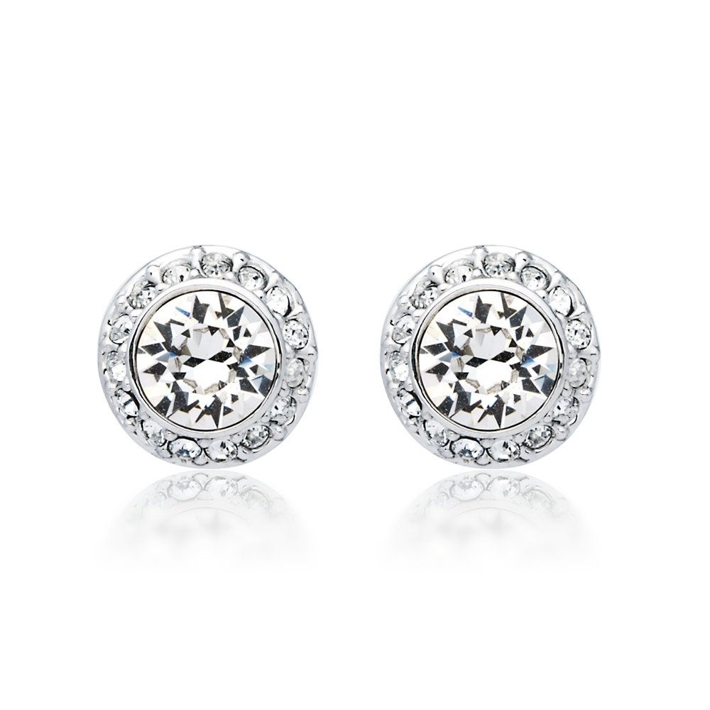 0ef3793a81e7c2 MYJS Angelic Rhodium Plated Classic Stud Earrings with Clear Swarovski  Crystals  Amazon.co.uk  Jewellery
