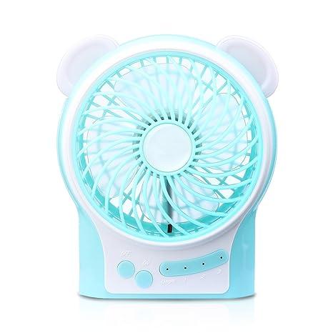 AFAITH ventilador portátil USB, 4.5 pulgadas Mini pequeño escritorio tranquila Tabla ventilador eléctrico recargable con luz ...
