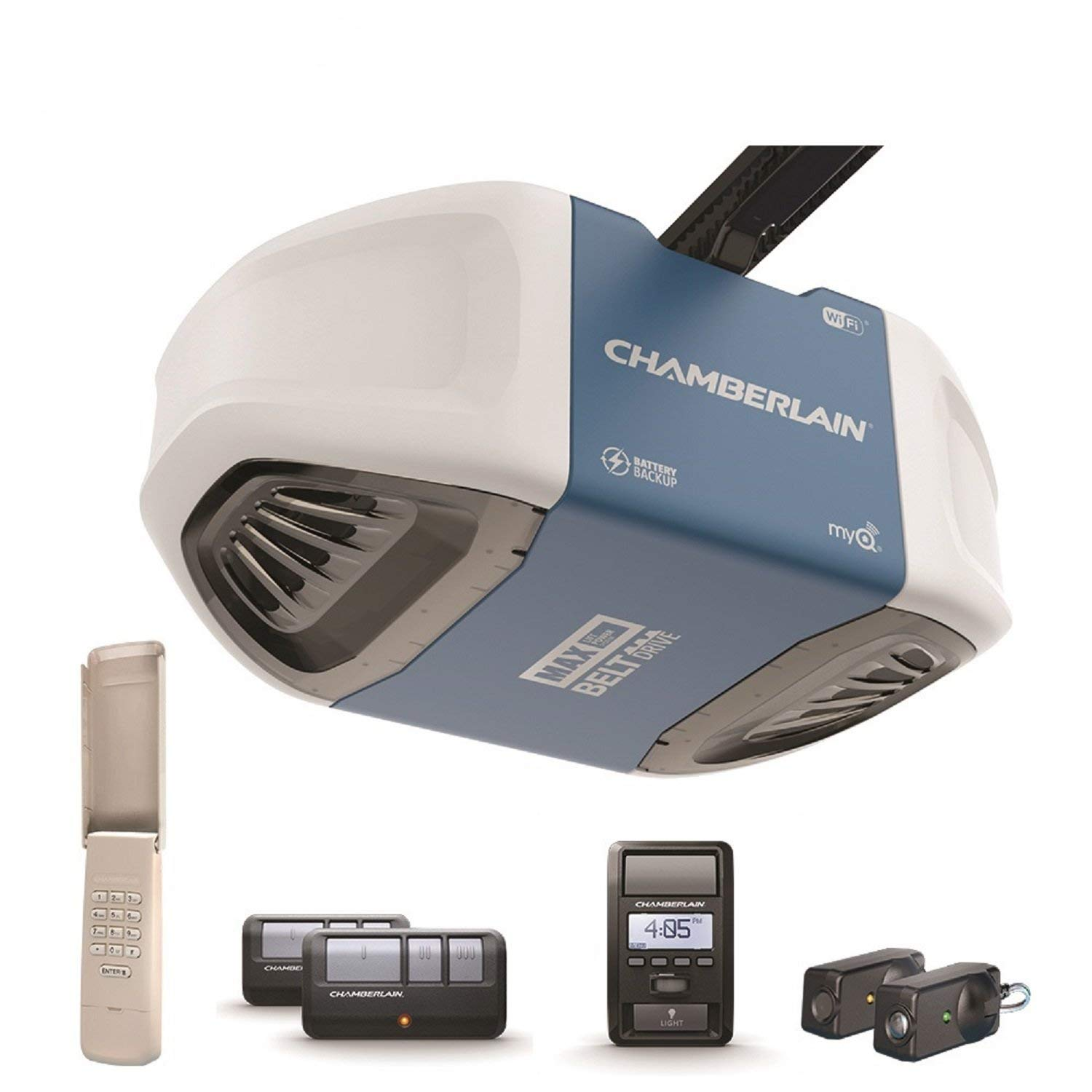 Chamberlain Group Chamberlain B970 Smartphone-Controlled Ultra-Quiet & Strong Belt Drive Garage Door Opener with Battery Backup and MAX Lifting Power, Blue (Renewed)