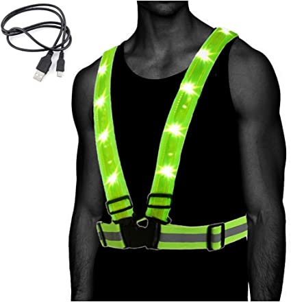 Running Lights for Runners 6 Pack Light up Led Reflective Gear Replace Safety Vest//Sash,Running Reflector Gear for Walking,Cycling,Jogging at Night Time,Ideal Gifts for Female,Men,Women,Walkers.