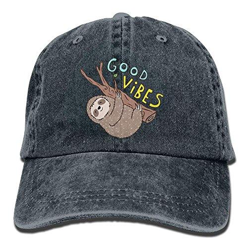 Gorras béisbol Men Women's GD Vibes Funny Sloth Dyed Washed Cotton Denim Baseball Cap Hat