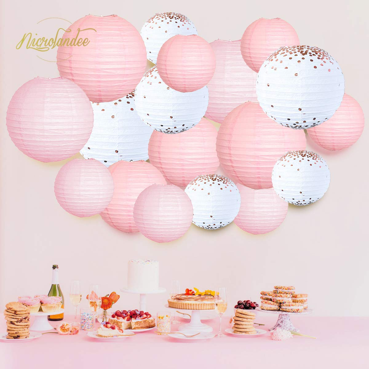 NICROLANDEE 18pcs Pink Paper Lanterns Decorations Rose Gold Copper Foil White Round Hanging Lantern Lamp Garland for Wedding Valentine's Day Bridal Shower Girls Baby Shower Birthday Indoor Outdoor by NICROLANDEE (Image #6)