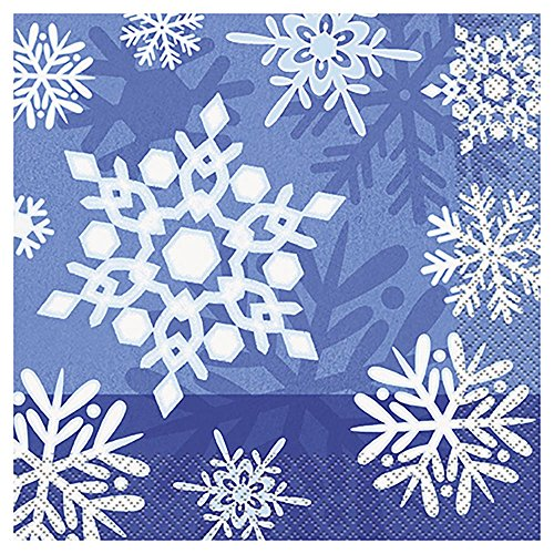 Winter Snowflake Holiday Party Napkins, 16ct (Winter Wonderland Party Theme)