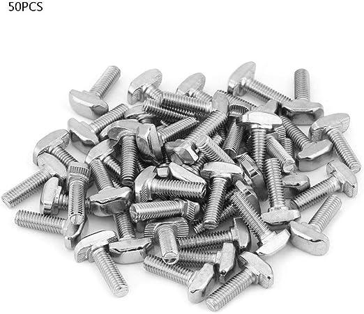 perfil de aluminio industrial Tornillo tipo T norma UE 1.00V tipo T tornillos M5 M6 M8 serie T 20//30//40//45 Akozon