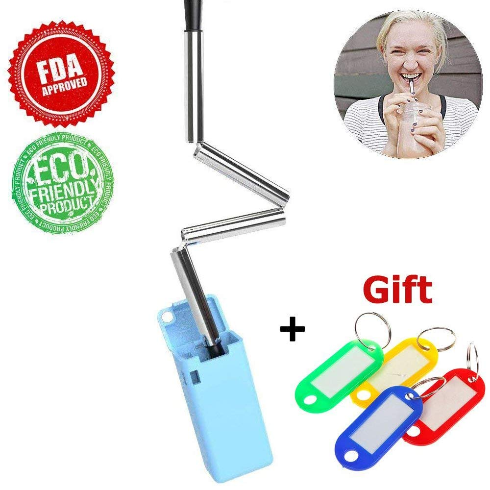 Drinking Straw Collapsible Reusable Stainless Steel Food-Grade Folding Drinking Straws with Free Label Keychain Pro-Noke