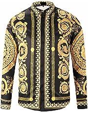 Pizoff Herren Luxus Langarm Hemden mit Baroque-Motiven,Y1706-27,XXL