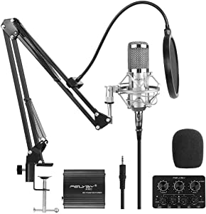 FELYBY Premium Condenser Microphone, Studio Cardioid Microphone Kit with Phantom Power and Sound Mixer, Compatible with PC/Laptop/Tablet/Smartphone, for Singing/Recording/Chatting/YouTube Video