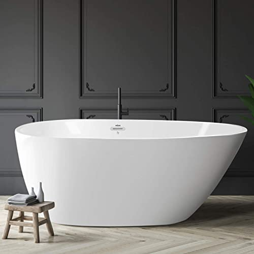 FerdY Freestanding Bathtub 55 x 29.5 New Egg oval shaped Freestanding Soaking Bathtub, 02561-55 Glossy White, cUPC Certified, Toe-Tap Drain Overflow Assembly Included