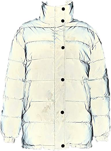 Kewing Chaqueta Acolchada de algodón Reflectante para Mujer, Abrigo Acolchado de Invierno con Abrigo: Amazon.es: Ropa y accesorios