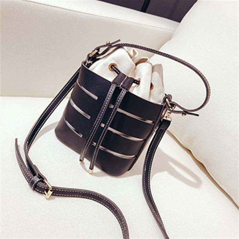 Anyzhantrade Bucket Bag Women Solid Color Hollow Leather Drawstring Mini Messenger Bag Color : Black, Size : 17 17 12CM