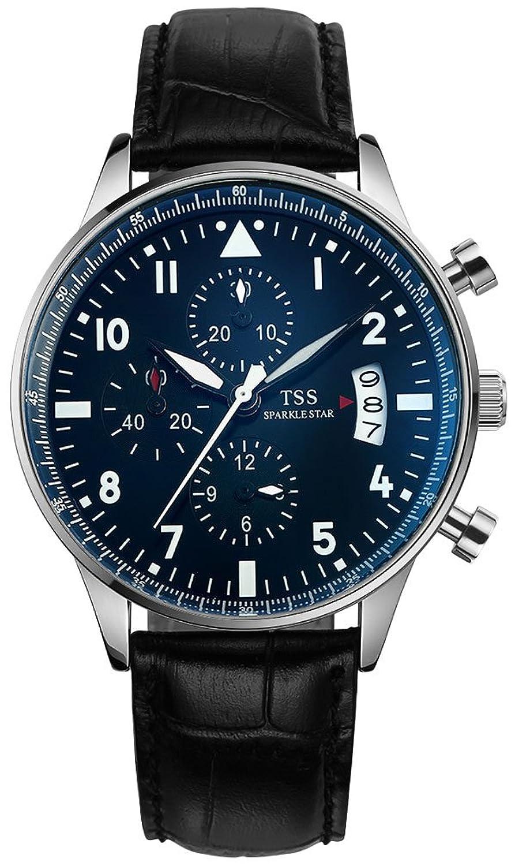 TSS Herren t5013pc2 Chronograph Quarz Armbanduhr mit Leder Band