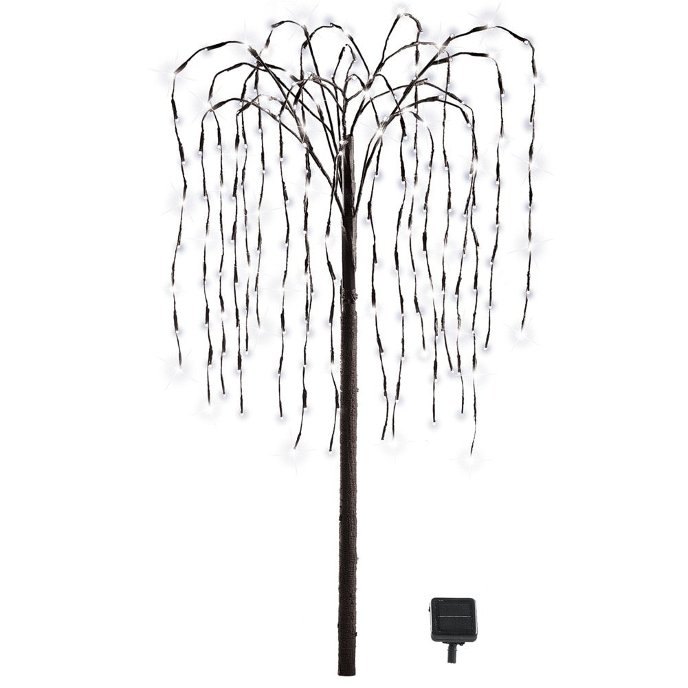artificial willow tree with solar powered white lights