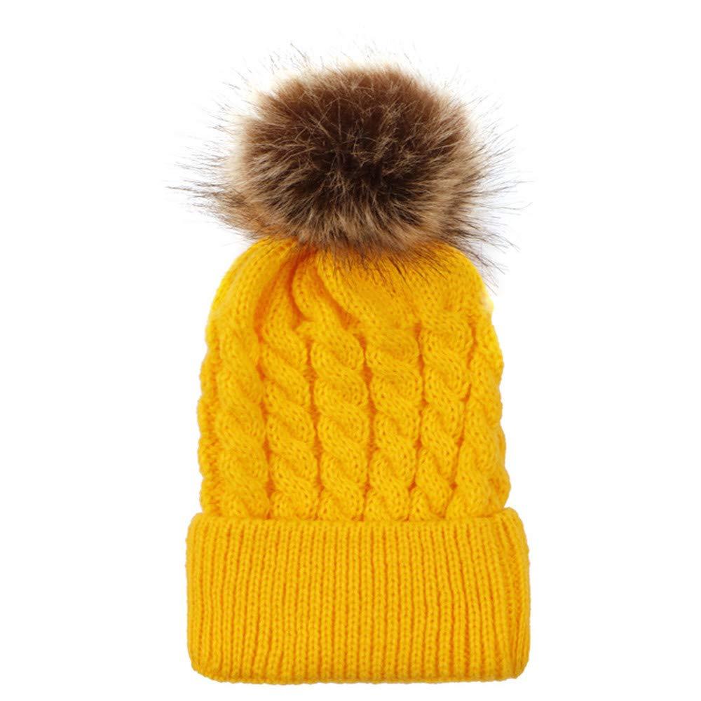 Yuutimko Cute Baby Hat Toddler Beanie Warm for Fall Winter Newborn Pompom hairball Skull Beanie Caps hats