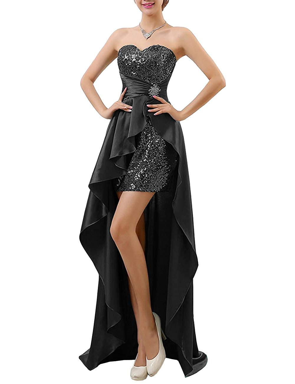 28a69f771b5c Uther Strapless Sequin High Low Evening Party Prom Gown Bridesmaid Dresses  at Amazon Women's Clothing store: