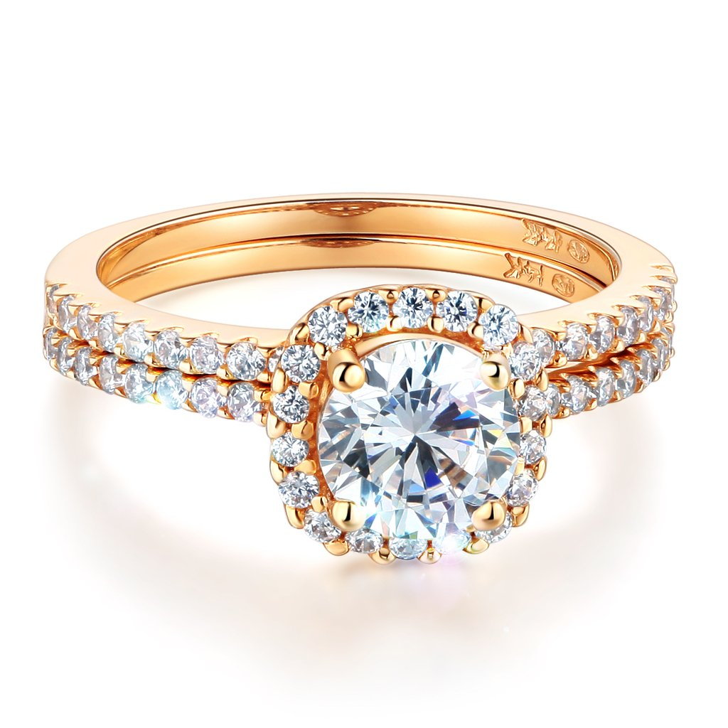 Wellingsale Ladies Solid 14k Yellow Gold Polished CZ Cubic Zirconia Round Cut Halo Engagement Ring with Side Stones and Matching Band 2 Piece Matching Bridal Set - Size 7