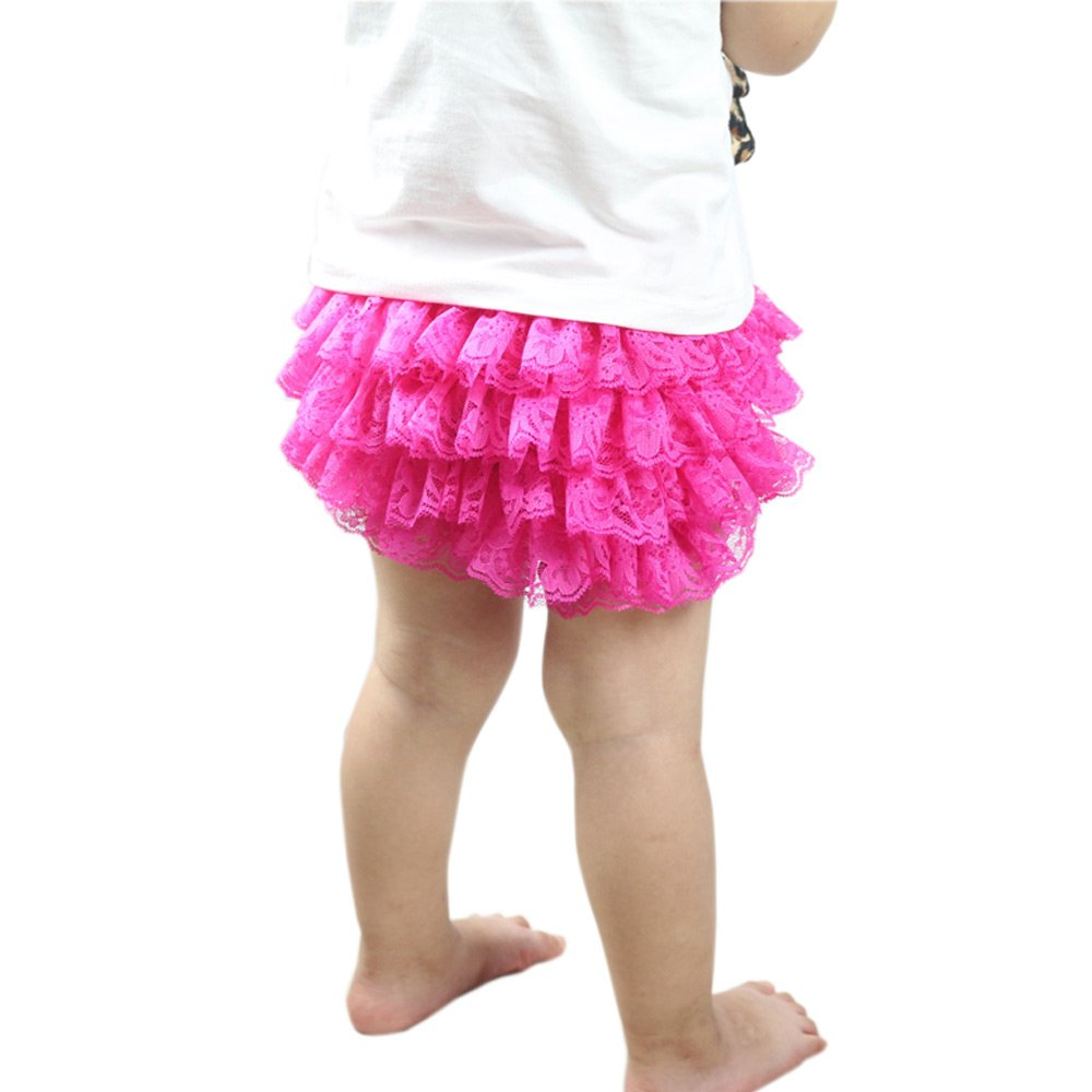 Wennikids Lace Ruffle Diaper Cover Bloomer Headband Set Baby Girls LC-RS-503